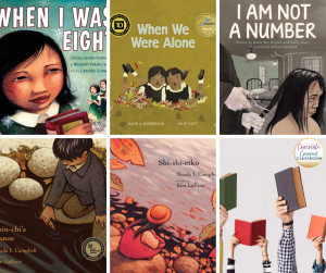 collage of picture books about residential schools for the elementary classroom