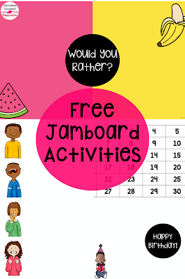 These four free Jamboard templates for teachers are perfect for the upper elementary classroom. Learn about simple ways to incorporate Jamboard in your classroom today. These jamboard ideas for elementary are fun community building activities, research and reflection tools. These templates are ideal for teachers in a virtual, hybrid or socially distanced setting. Perfect for grade 4 and grade 5 classrooms. Your 5th and 4th grade students will love these simple digital activities. #4th #5th