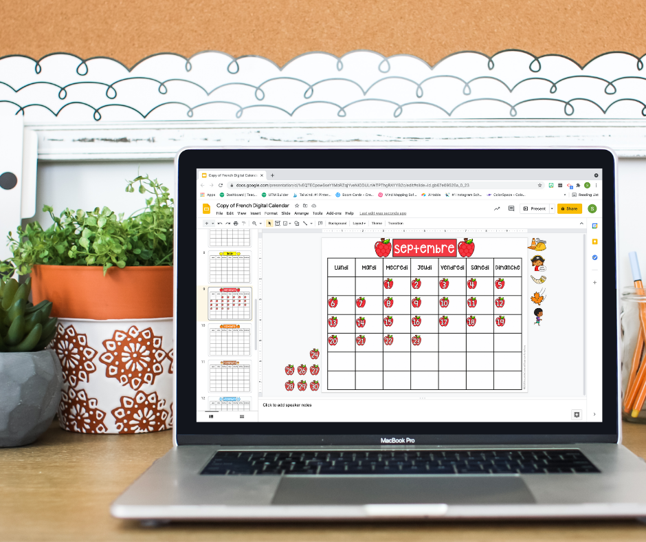 digital french calendar routine for french as a second language classrooms