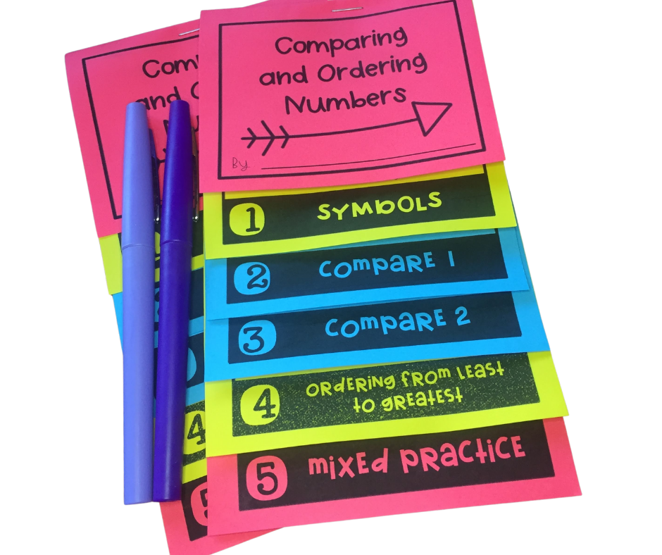 comparing and ordering numbers flip book