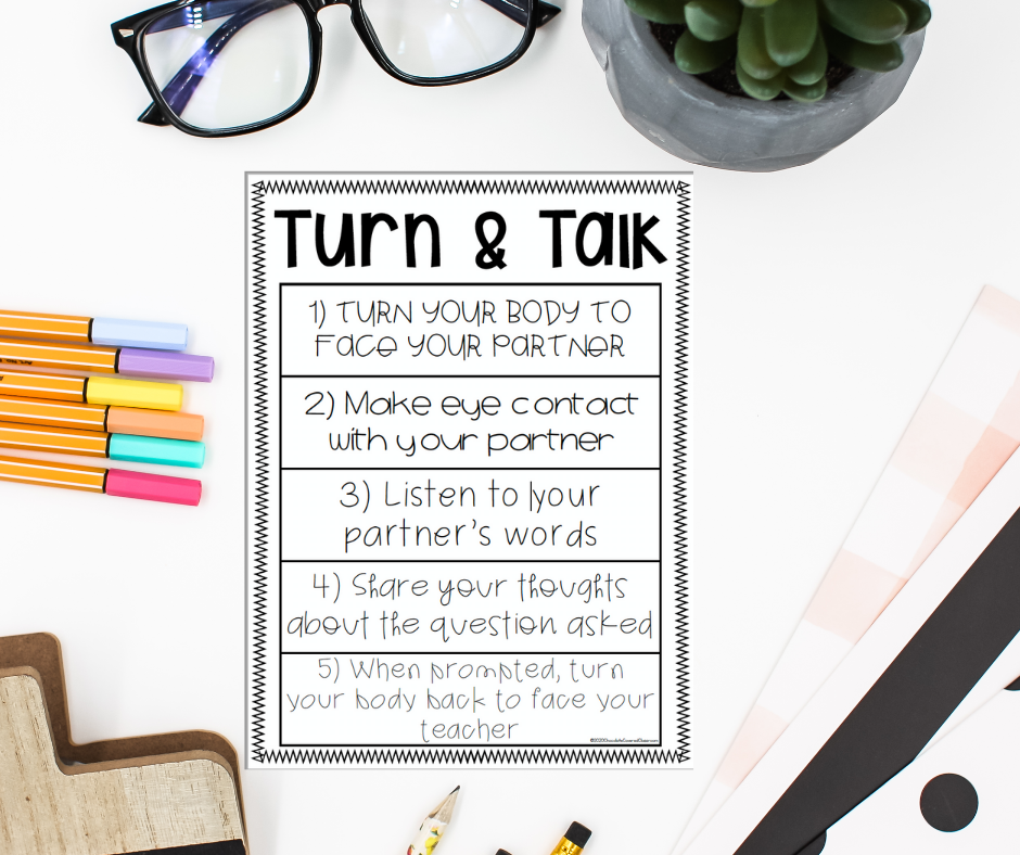 turn and talk expectations in the reading workshop mini lesson
